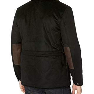 Billy Reid Men's Rabbit Fur Wool Cashmere Quail Coat with Leather Details, Black, L
