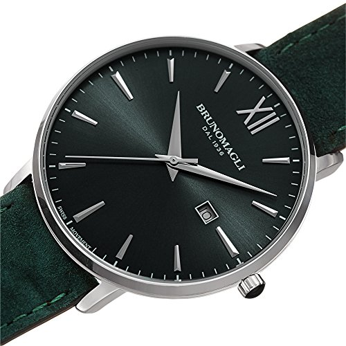Bruno Magli Men's Roma 1162 Swiss Quartz Hunter Green Dial Italian Suede Leather Strap Watch