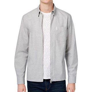 Ben Sherman Mens Woven Zip Shirt Jacket Grey M