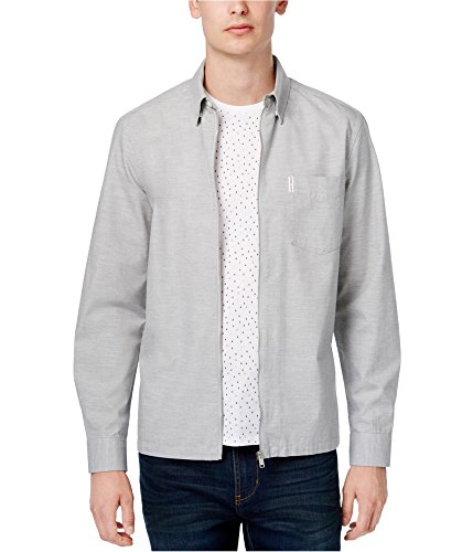 Ben Sherman Mens Woven Zip Shirt Jacket Grey M