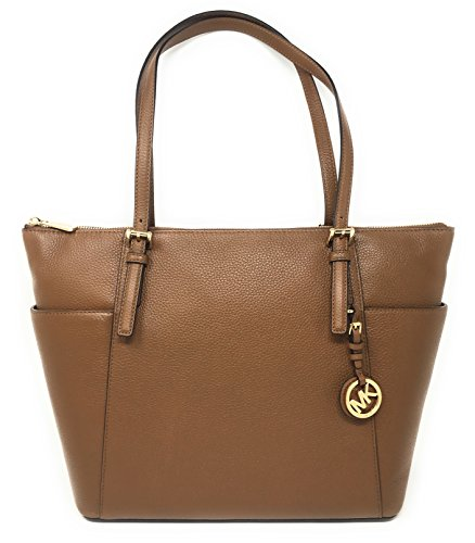 Michael Kors Jet Set Item Large East West Top Zip Leather Tote (Luggage)