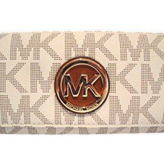 Michael Kors Womens Fulton Signature Long Continental Clutch Wallet Vanilla/Acorn