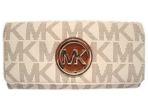 Michael Kors Womens Fulton Signature Long Continental Clutch Wallet Vanilla/Acorn