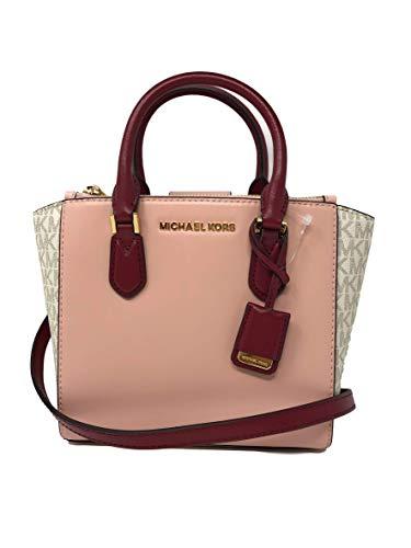 c84bf97ac832 Michael Kors Women's Carolyn Small Leather Tote Crossbody Bag Purse Handbag  (Vanilla/Pastel Pink