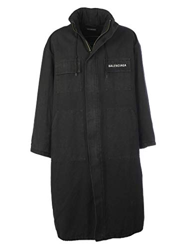 Balenciaga Men's Black Cotton Coat