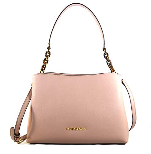 Michael Kors Sofia Large East West Saffiano Leather Satchel Crossbody Bag Purse Tote Handbag (Fawn)