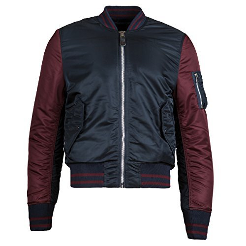 Alpha Industries Men's Ma-1 Varsity Bomber Jacket, Replica Blue/Maroon