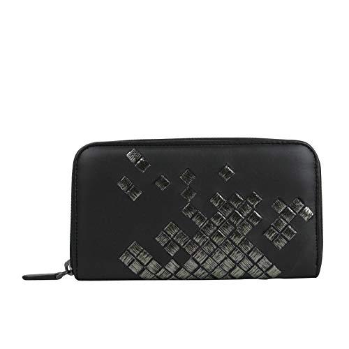 08b124f75d Bottega Veneta Women's Zip Around Black Leather Woven Wallet