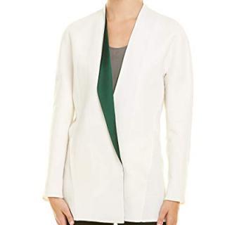 Akris Womens Linen-Blend Silk-Lined Jacket, 8, White
