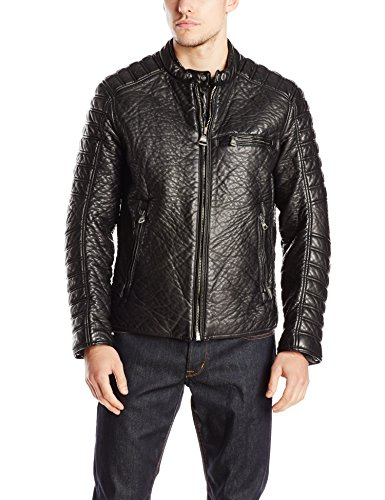 Marc New York by Andrew Marc Men's Broadway Bubble Faux Leather Moto Jacket