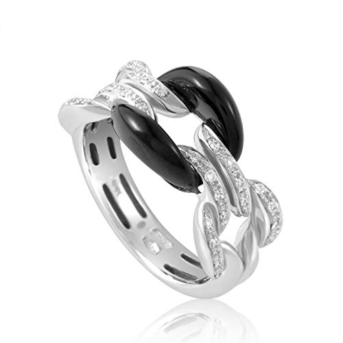 Damiani D.Lace 18K White Gold Diamond and Onyx Cushion Ring