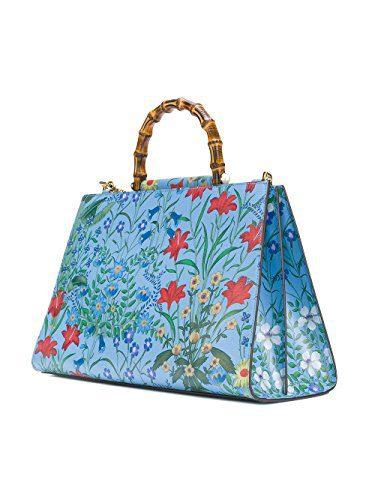 Gucci Flora Azure Shanghai Blue Large Floral Handbag