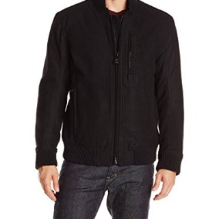 Marc New York by Andrew Marc Men's Rikers Wool Bomber Jacket, Black, Large