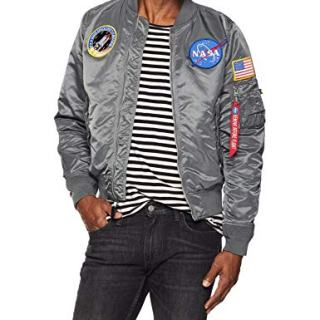 Alpha Industries Men's NASA Bomber Flight Jacket, Gunmetal, Large