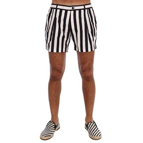 Dolce & Gabbana Black White Striped Beachwear Shorts