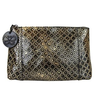Bottega Veneta Intrecciomirage Gold/Black Leather Clutch Pouch Bag