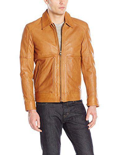 "Andrew Marc Men's Herrod-25.5"" Sheep Shirt Collar Jacket, Cognac, XX-Large"
