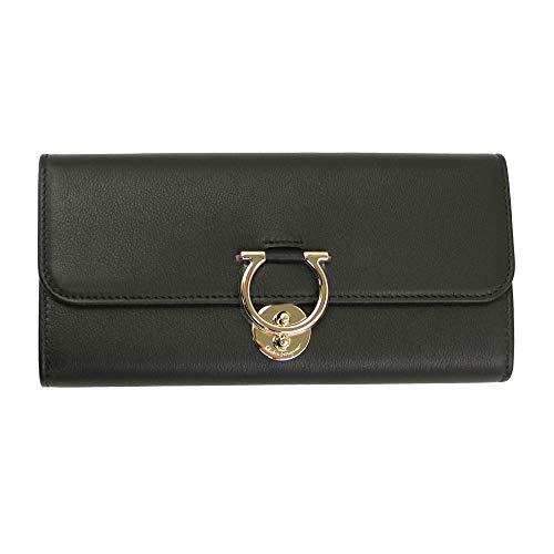 Salvatore Ferragamo Gancini Black Leather Bifold Long Wallet Nero