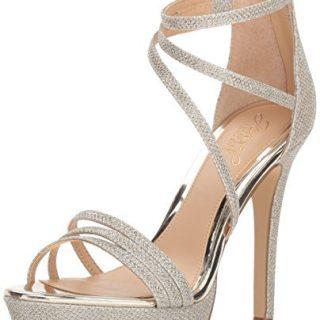 Badgley Mischka Jewel Women's Maeva Heeled Sandal, Gold Glitter