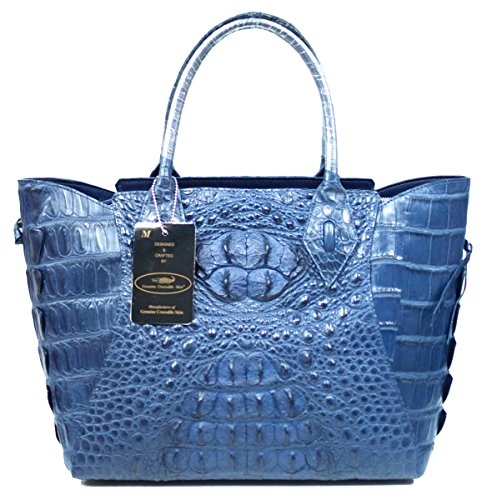 Authentic M Crocodile Skin Womens Hornback Tote Hobo Basket