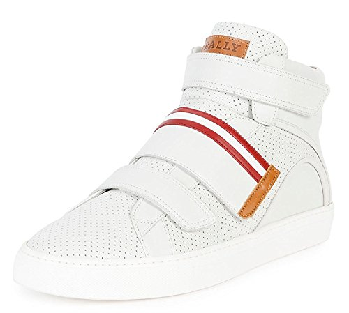 BALLY Herick Perforated Leather High-Top Sneaker, White (7)