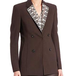 Akris Womens Punto Snakeskin & Leather Collar Wool Jacket, 14