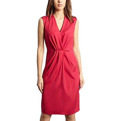 Cacharel Plunge Neck Plain Draped Front Dress