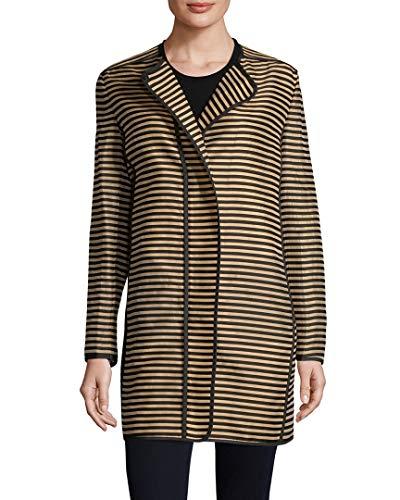Akris Womens Punto Striped Coat, 10 Brown