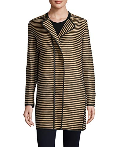 Akris Womens Punto Striped Coat, 10 Brown