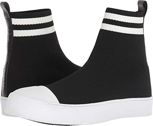 Neil Barrett Men's Sports Stripe Techknit Sock Sneaker Black/White