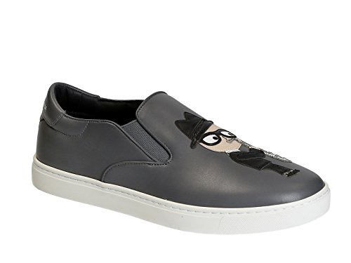 Dolce & Gabbana Men's Grey Leather Slip-ons Shoes