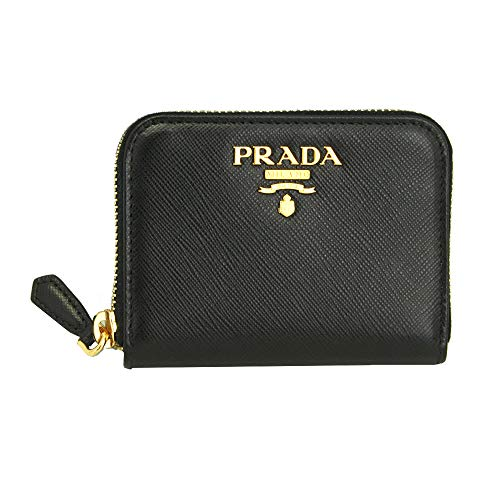 Prada Black Leather W/metal logos Coin case Nero