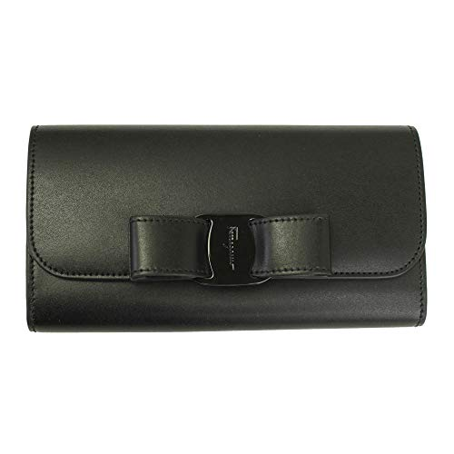 Salvatore Ferragamo Vara Black Leather Bifold Long Wallet Nero