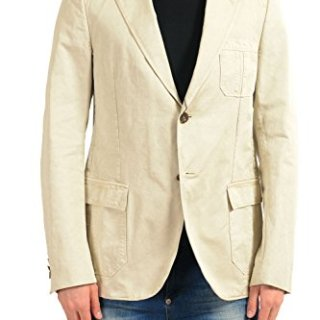 Gucci Men's Beige Two Button Blazer Sport Coat