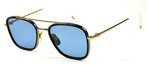 Thom Browne sunglasses TB 800 Col. B Gold-Navy / Blue lenses new