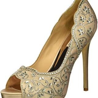 Badgley Mischka Women's Valentina Pump, Latte Satin, 7.5 M US