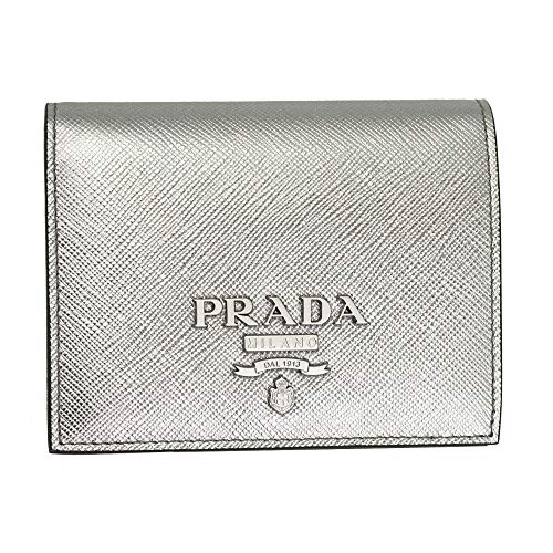 Prada Silver Leather Bii-fold Wallet Cromo