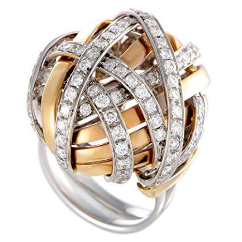 Damiani 18K White and Rose Gold Diamond Pave Tangled Dome Ring