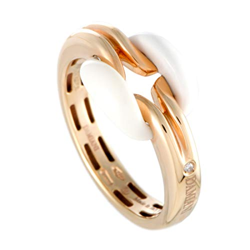 Damiani D.Lace 18K Rose Gold Diamond and White Agate Small Cushion Ring
