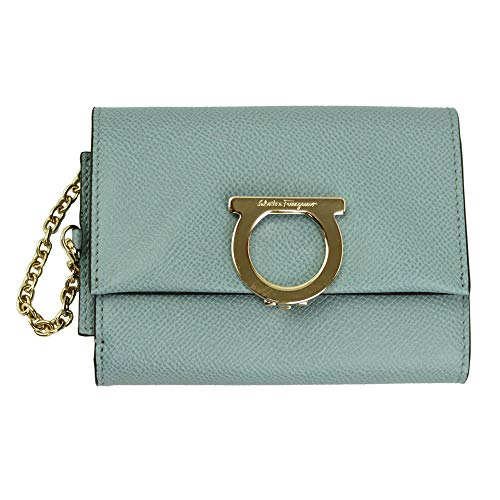 Salvatore Ferragamo Gancini Blue Leather Bifold Wallet Blue Haze