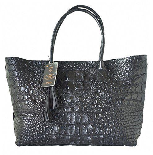 Authentic M Crocodile Skin Womens Bag Tote Hobo Huge Handbag