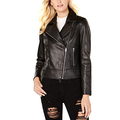 Marc New York Women's Leah Leather Moto Jacket (Black, X-Large)