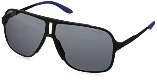 Carrera Men's Rectangular Sunglasses, Black Shiny Matte/Gray Blue
