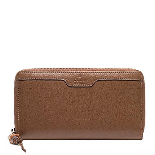Gucci Hip Bamboo Brown Deer Leather Zip Around Wallet