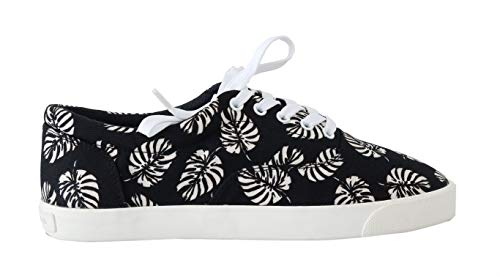 Black Leaf Print Canvas Sneakers