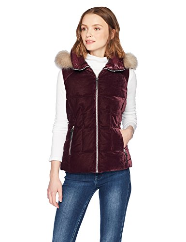 Marc New York by Andrew Marc Women's Val Velvet Down Vest, Burgundy, Small