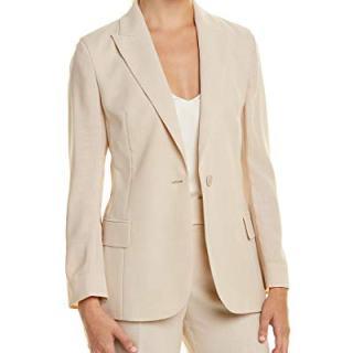 Akris Womens Silk-Lined Wool Jacket, 4, Beige