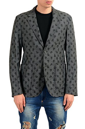 Alexander McQueen Men's 100% Wool Skull Print Two Button Blazer Sport Coat