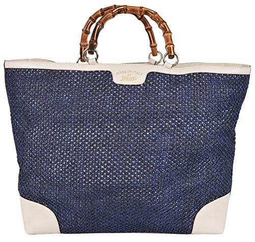Gucci Women's Large Blue Straw Leather Bamboo Handle Handbag Tote