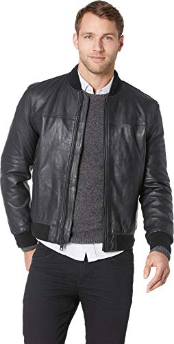 Marc New York by Andrew Marc Men's Baseball Jacket Black Medium